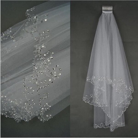 White Ivory Short 2 Layers Wedding Veil with Comb Bride Crystal Bridal Veils