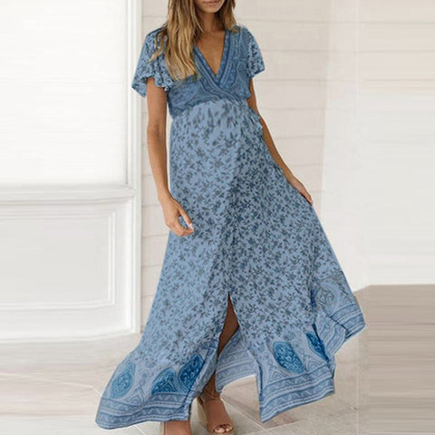 Woman Pregnant Dresses  V-Neck Short Sleeve Floral Print Slit Fashion Long Dress Maternity Gown 2020