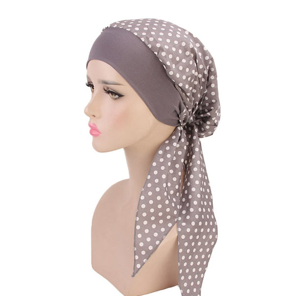 Women Floral Print Muslim Scarf Cap Long Tail Cotton Turban Hijabs Hat Adjustable Elastic Cloth Hair Bands Hair Accessories Wrap