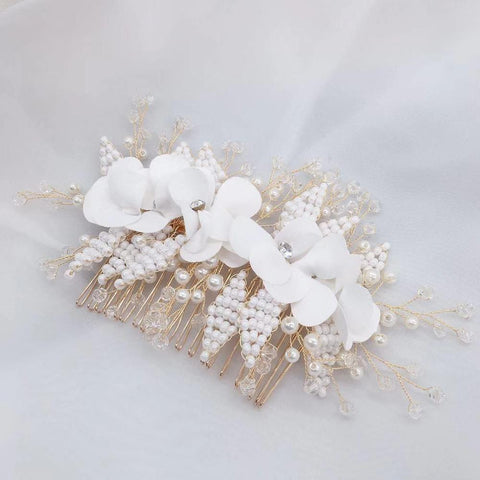 Women Wedding Headpiece With Comb Handmade Flowers Pearls Bead Bridal Hair Headband Wedding Accessories