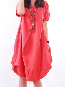 Women Red Cocoon Daytime Linen Casual Buttoned Solid Dress