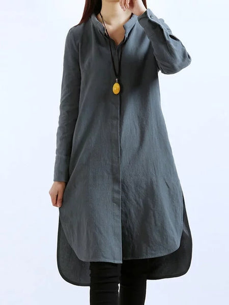 Stand Collar Women High Low Long Sleeve Linen Casual Solid Dress