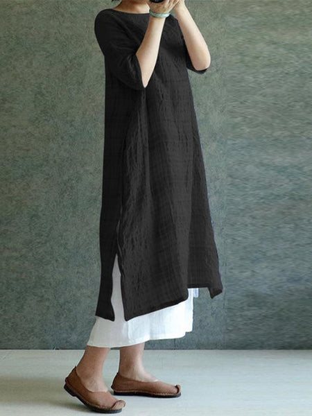 Plus Size Women Shift Daily 3/4 Sleeve Linen Checkered/Plaid Dress