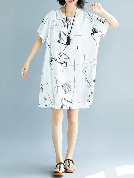 Women Shift Daily Batwing Casual Printed Abstract Dress