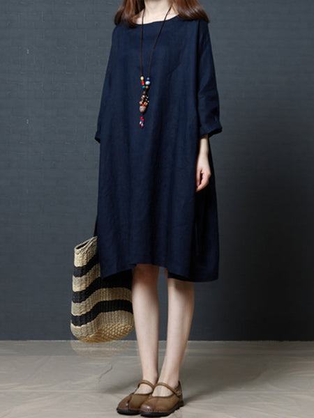Women Shift Daytime Linen 3/4 Sleeve Casual Solid Dress