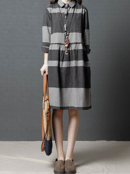 Shirt Collar Women Shift Long Sleeve Linen Striped Dress