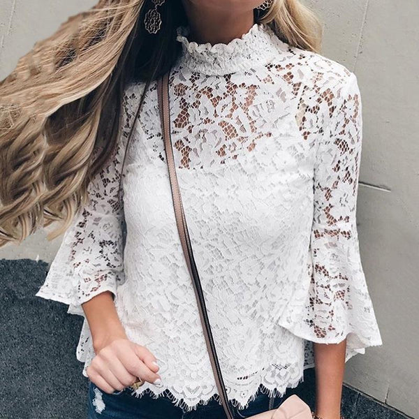 Casual Lace Bell Sleeve Top