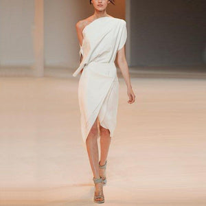 One-Shoulder Solid Color   Irregular Bodycon Dress