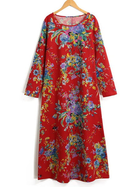 Plus Size Women Shift Daily Long Sleeve Casual Printed Floral Dress