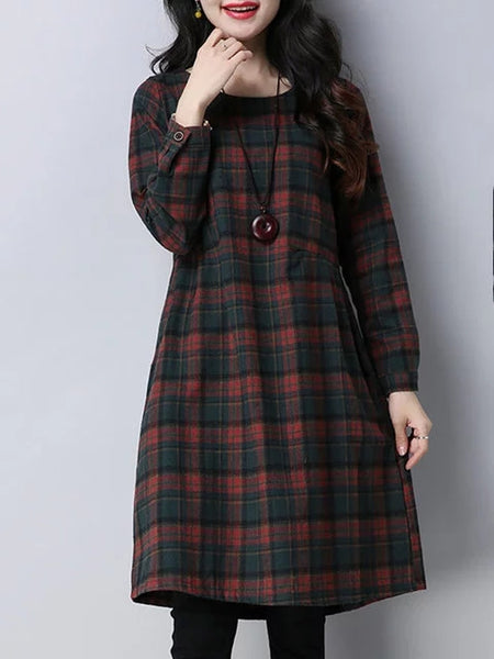 Women A-line Going out Long Sleeve Cotton Pockets Checkered/Plaid Dress