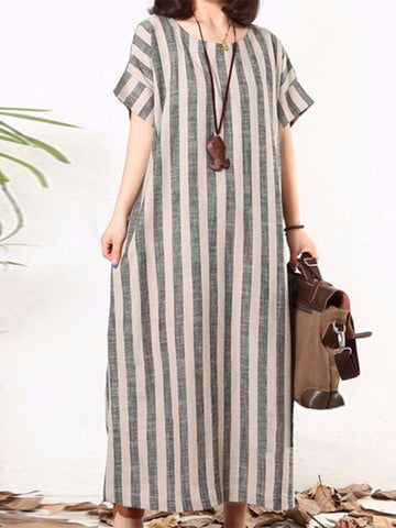 Plus Size Women Gray Shift Daytime Cotton Short Sleeve Striped Dress