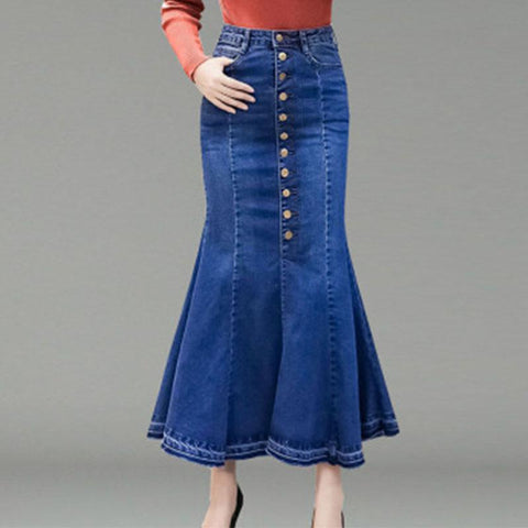 Mermaid Button Denim Bodycon Women's Skirt