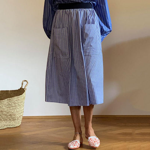Casual plaid loose patch pockets midi skirt RY58