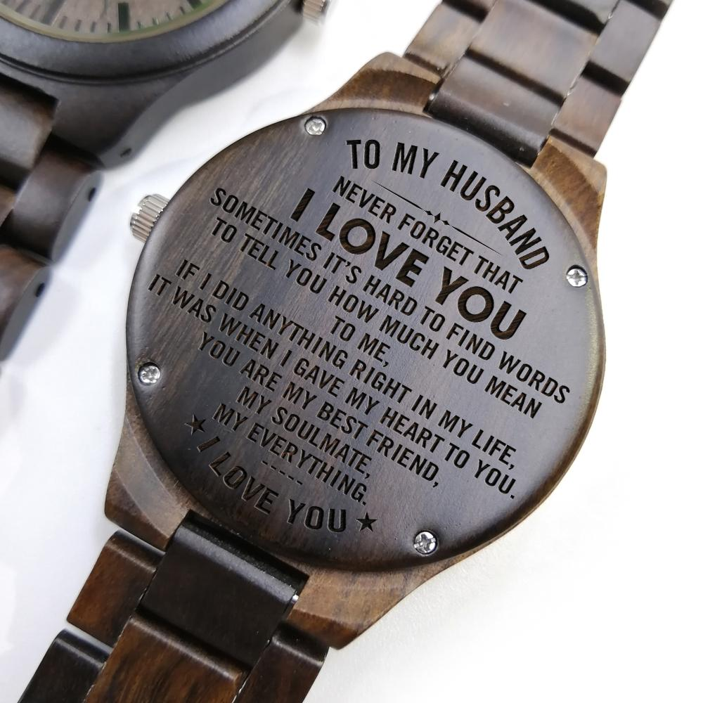 wooden watch - to my husband personalized gifts