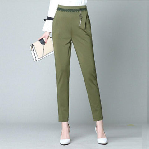 Plain Harem Lace-up Cotton OL Women's Pants