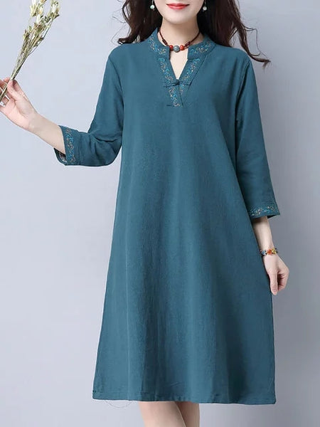 Women Shift Daily Cotton 3/4 Sleeve Paneled Dress