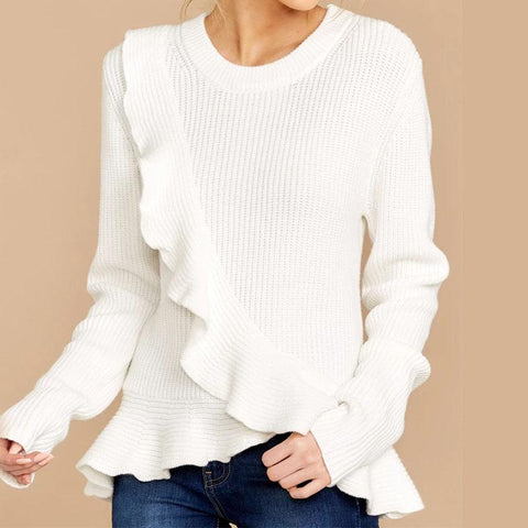 White Ruffled Hem Woolen Sweater