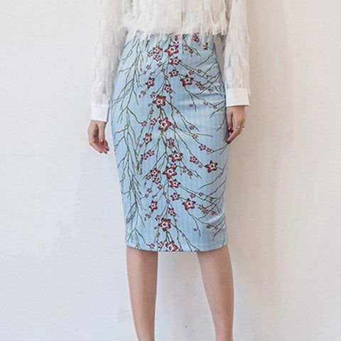 Floral Print Bodycon Split Casual Women's Skirt