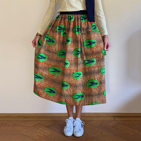 Women's fashion high-waist print semi-body skirt RY58
