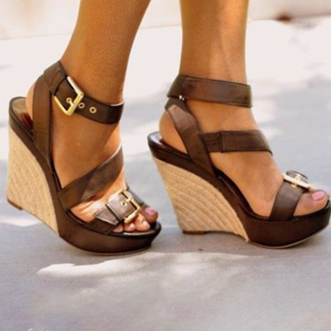 Plus Size Wedge Heels Open Toe Buckle Sandals