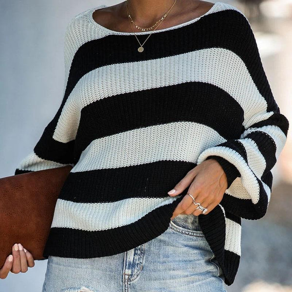 Slash Neck Balloon Sleeve Striped Sweater