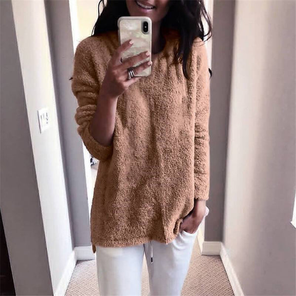 Oversized Crewneck Pure Color Fuzzy Sweaters