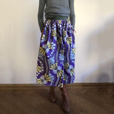 Vintage Fashion Printed Purple Skirt RY58