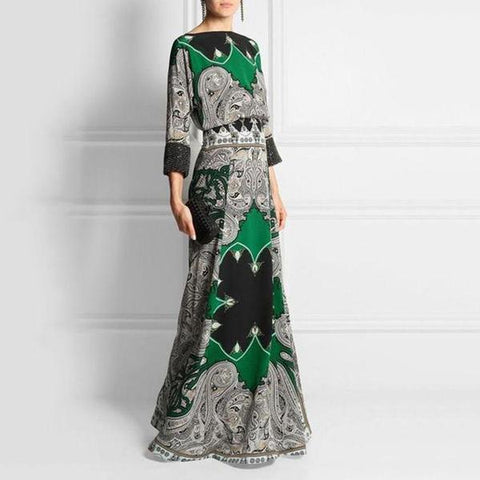 Dreamlip Round-Necked Long-Sleeved Vintage Printed Maxi Dress