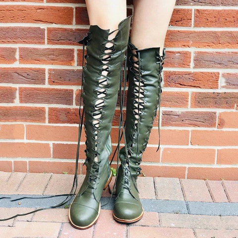 Lace Up Combat Knee High Boots Casual Side Zipper Boots