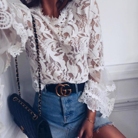 Sexy Lace Perspective Long Sleeve Shirt