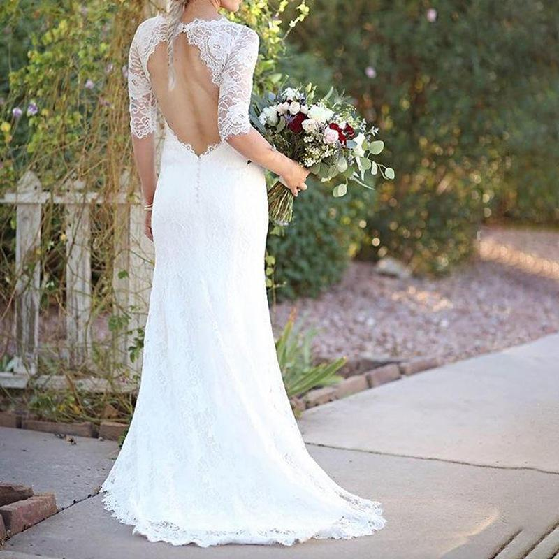 Sexy White Lace Slim Backless Evening Dress