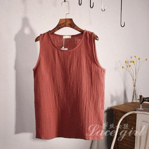 Lace Girl Jujube Red Cotton and Linen Plus Size Tank Top
