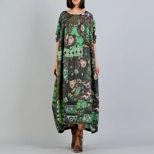 Loose Linen and Silk Vintage Floral Dress