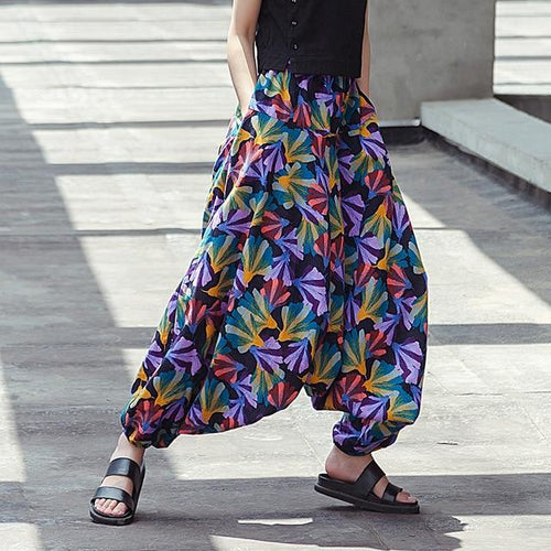 Abstract Flowers Harem Pants