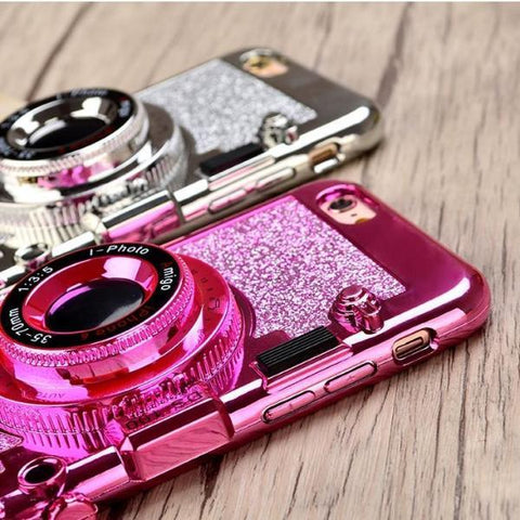 Sparkling Glitter Camera Phone Case with Mirror Kickstand & Strap