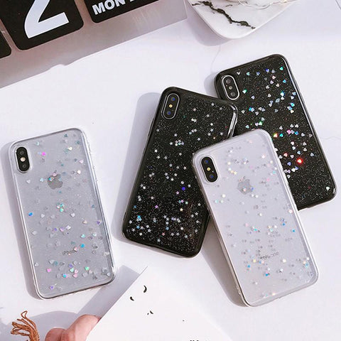 Star Heart Shape Glitter Phone Case