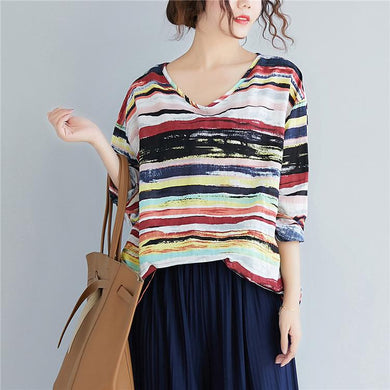 Multicolor Long Sleeve Striped Top