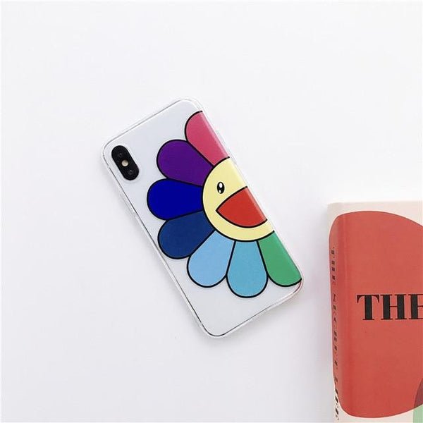 Colorful Half Sunflower Graffiti Clear Phone Case