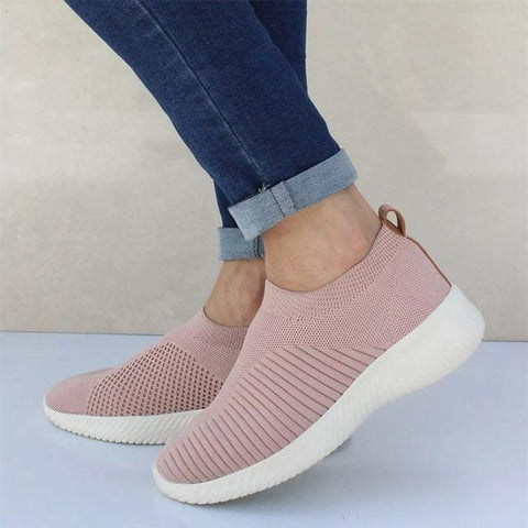 Plus Size Women Casual Knitting Sock Sneakers Stretch Flat Platform Shoes