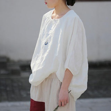 Embroidered O Neck Linen Blouse