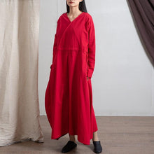 Load image into Gallery viewer, Empire Waist Long Sleeve Linen Dress
