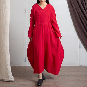 Empire Waist Long Sleeve Linen Dress
