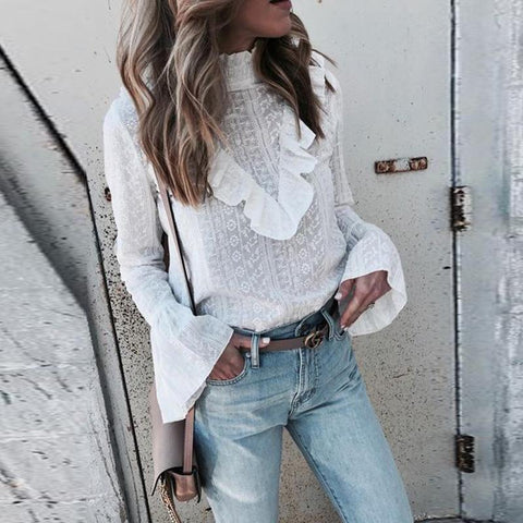 Fashion Flared Sleeve Frilly Lace T-Shirt