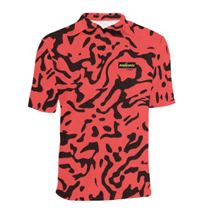 Cowabunga Camo golf polo in Electric Red