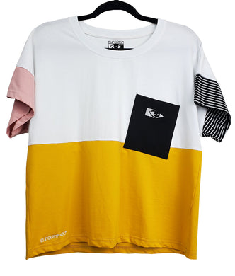 motocross and streetwear inspired block tee with yellow, white and a black pocket with eye