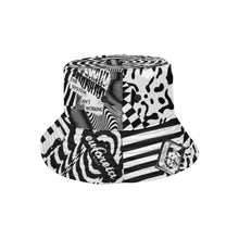Load image into Gallery viewer, streetwear and motocross inspired bucket hat with black and white print