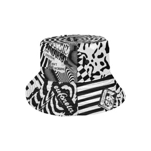 streetwear and motocross inspired bucket hat with black and white print