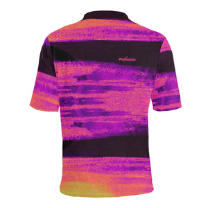 back of monet inspired and abstract golf polo