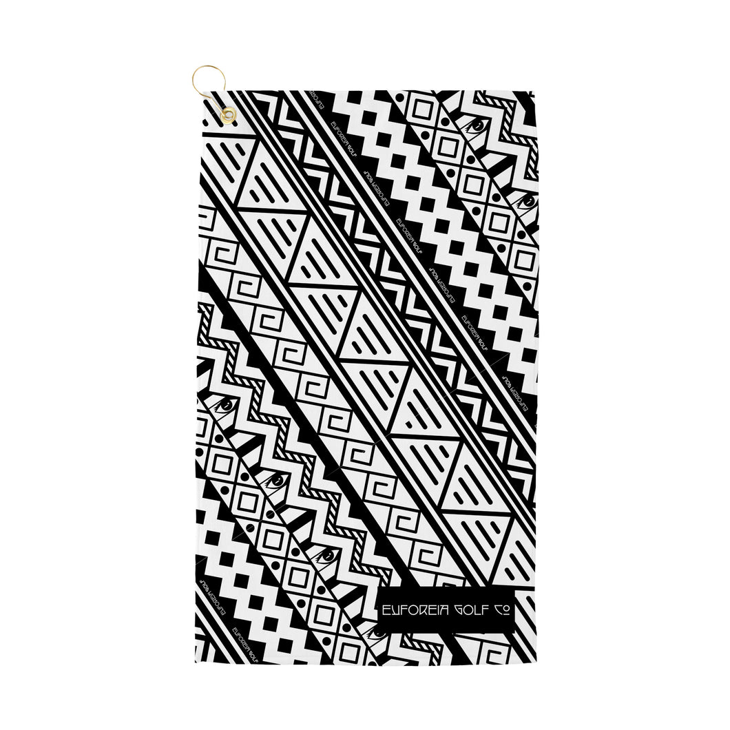aztec inspired golf bag towel with black and white print