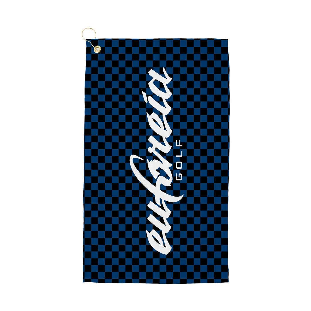blue check print logo golf towel